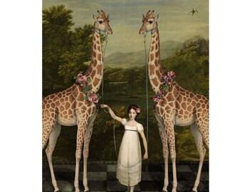 Giraffes Print Digital Art Green Brown Surreal Home Decor Giraffe Garden African