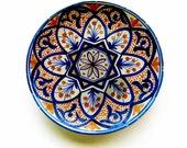 Old 1960s Vintage Chippy Display Plate Spanish Ceramic Bisque Rustic Mediterranean Art Pottery Flower Design Blue Golden Brown
