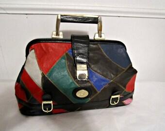 Leather Bag, Leather Patchwork Bag, Doctors Bag, Leather Handbag, Hobo bag, Leather Purse, Vintage Leather Bag