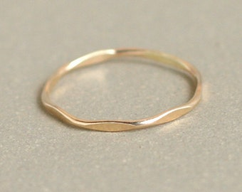 gold or rose gold stacking ring. super skinny slim. hammered and shiny. ONE. gold filled classic stack ring. minimalist ring. dainty ring.