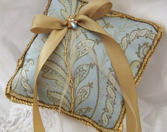 Ring Bearer Pillow with Iridescent Vintage Rhinestones and Vintage Sequines in Gold Blue Cream Bollywood