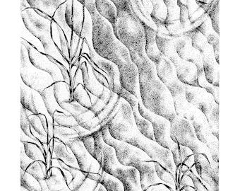 Dune Sand Beach Drawing, Framed Beach Stipple Ink Drawing, Framed Original Art, Beach Dune Original Art, Framed Black and White Ink Drawing