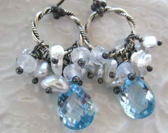 Blue Topaz Pearl Earrings - Something Blue Earrings - Wedding Jewelry