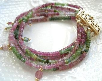 Multi Strand Tourmaline Bracelet Tourmaline Bracelet Boho Chic Bracelet