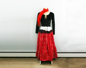 vintage 70s Lady Pirate or Gypsy Halloween Costume Assemblage Set Dress Scarf Corset M