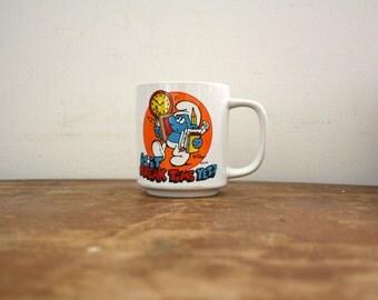 vintage 80s It It Break Time Yet? Smurf 1981 Wallace Berrie & Co. Korea Novelty Coffee Mug // Retro Coworker Gift