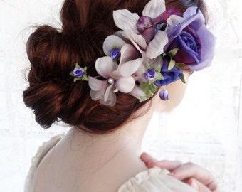 bridal headpiece, purple hair flower, silk bridal hair piece, wedding headpiece, floral hair piece, purple hair comb, silk hair accessories