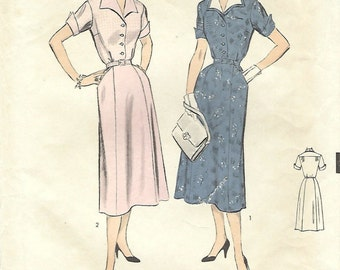 1950s Advance 6682 UNCUT Vintage Sewing Pattern Misses Shirtwaist Dress, Afternoon Dress Size 14 Bust 32