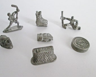 NHL Monopoly Game Pieces Metal Pewter Tokens Hockey seven pieces