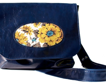 Vegan Porthole Handbag with Adjustable Strap, Navy Faux Leather, READY TO SHIP