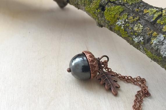 Hematite and Copper Acorn Necklace