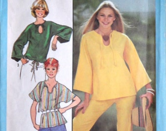 Vintage 70's Simplicity 8523 Sewing Pattern, Misses' Jiffy Pullover Top, Size Medium 14-16, Bust 36-38, Retro Boho