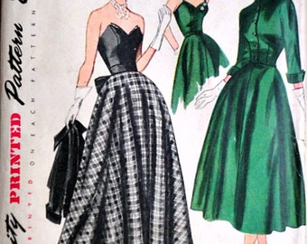 Vintage 40's Simplicity 3047 Sewing Pattern, Misses' Dress And Jacket In Daytime & Evening Length, Size 12, B 30,  Strapless Dress  Uncut FF
