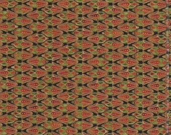 1 Yard Quilt Fabric - Passage to India - Robert Kaufman - Metallic Gold, Black, Red and Green
