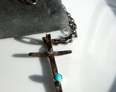 Women's Cross Necklace, Turquoise, Copper, Sterling Silver, Relic, Medieval Hammered Cross,  Religious, Faith Jewelry, Primitive, Spiritual