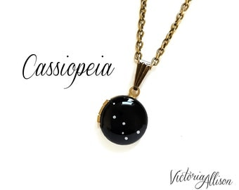 Cassiopeia Constellation Necklace, Hand Painted Vintage Tiny Locket, Antiqued Brass Chain, Stars