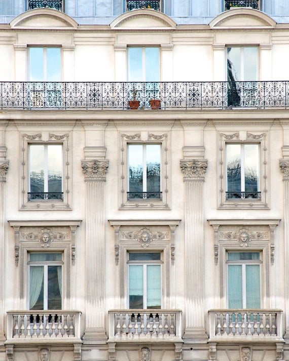 "Paris Photography, ""Blue Skies and Balconies"" Paris Print, Extra Large Wall Art Prints, Blue Paris Decor, Travel Photography"