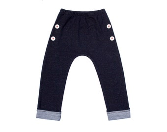 Merino black marle kids pants