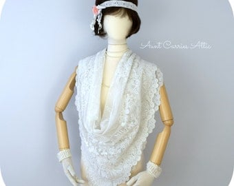 Boho Lace Scarf Shabby Scarf Goth Tattered Scarf Long, Two Layers, Infinity Scarf Victorian Style, Bridal Scarf Vintage Wedding
