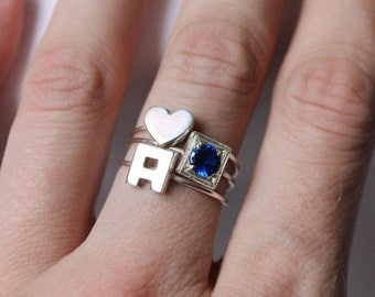 Stacking rings, Sterling silver, Made to order, Custom Ring ,  Birthstone Ring, Choose One Gemstone and two letters