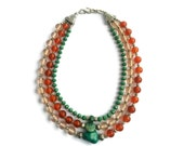 Tropical Sunset – Green/Orange/Pink/Silver Statement Necklace - Beaded Glass and Gemstone 3-Strand Collar - Mishimon Designs