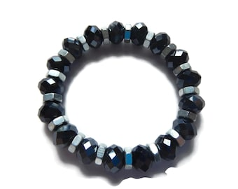 Galaxy - Grey/Silver Bracelet - Faceted Glass Crystal Stretch Stacking Bracelet - Charcoal - Mishimon Designs