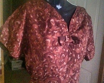 Women's Vintage 1950s early 60s Brown Print Dress . Large Ex Large 50s 60s Shirtwaist Dress . Silky Rayon Abstract Design