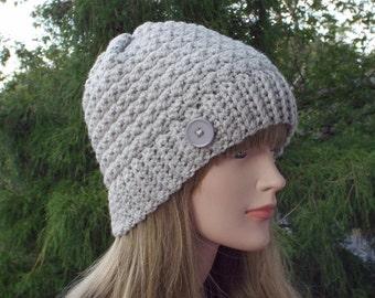 Womens Beanie, Dove Gray Crochet Hat, Winter Hat with Button, Light Gray Ski Hat, Textured Hat, Winter Accessories
