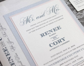 Blush Pink, Navy and Silver Traditional Wedding Invitations | Renee & Cory