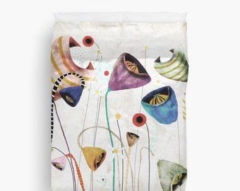Duvet Cover -  Whimsical Wedding Bouquet Flowers Design
