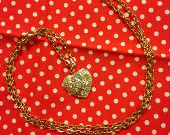 Vintage Japan Showa Era Retro Girl Heart Faux Diamond Pendant Necklace With Gold Tone Chain