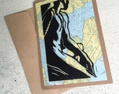 Man Map Note Card, Artist Block Print on Topo Map