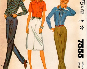 Vintage UNCUT McCall's Palmer & Pletsch Pattern 7555 - Misses Jeans and Jean Skirt - Size 14