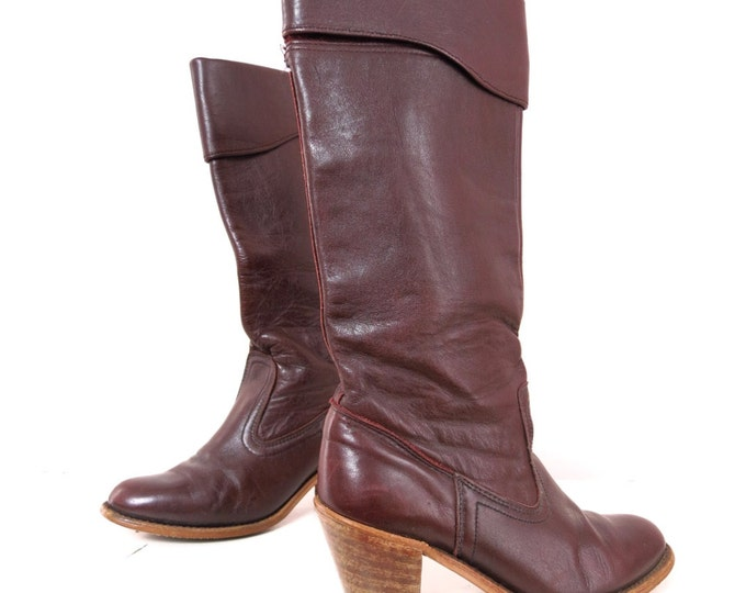 Vintage Brown Leather Boots | 1970s Leather Dexter Boots 7N | 70s Gypsy Boho Boots