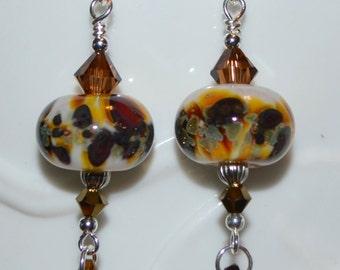 Lampwork and Swarovski Beaded Earrings