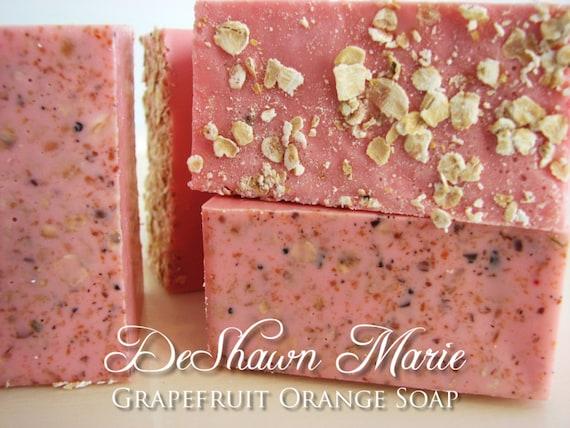 SALE SOAP- Grapefruit Orange Soap - Vegan Soap - Handmade Soap - Citrus Soap- Soap Gift
