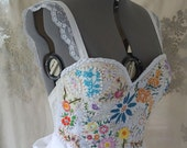 Meadow Gown... wedding formal dress boho whimsical woodland bustier corset prom country vintage hand embroidered eco friendly
