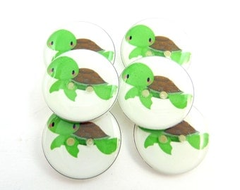 "6 Turtle Buttons. Turtle Sewing Buttons.  Handmade by Me.  Washer and dryer safe.   Decorative Buttons.  Animal Buttons. 3/4"" or 20 mm."