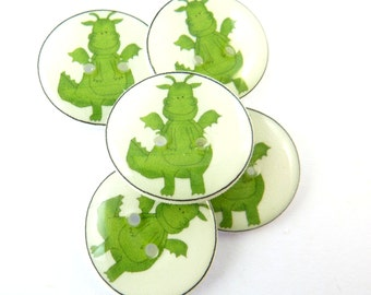 """5 Dragon Buttons. Children's Buttons. Sew on Buttons.   3/4"""" or 20 mm. Craft Buttons."""