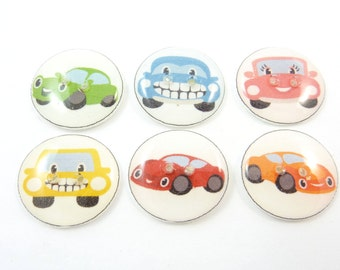 """6 Funny Car  Buttons. 3/4"""" or 20 mm Sewing Buttons."""