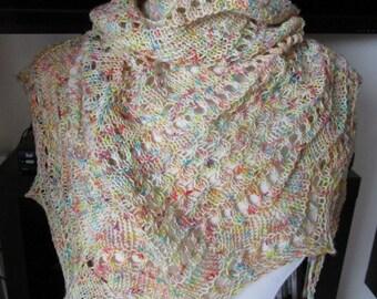 Confetti Shawl, hand knit, one of a kind.