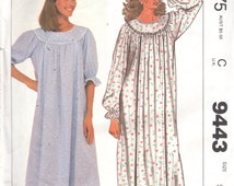 1980s McCalls 9443 Misses Nursing Gown Pattern Nightgown  Front Snap Openings Womens Vintage Sewing Size Small Bust 32 34 OR X Small UNCUT