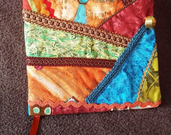 Fabric Covered Journal, Notebook, Diary, Journal, Crazy Quilt