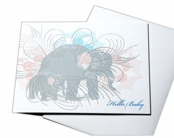 Congratulations Baby Elephant New Mother Expecting Letterpress Card