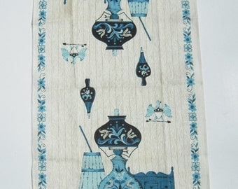 Vintage Towel Fun 1960's Toleware Oil Lamps & Butter Churn MINTY