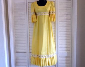 Yellow Princess Dress, Vintage Bridesmaid or Flower Girl Dress, 1970s Vintage, Lemon Yellow with Empire Waist, Party Dress, Ren Fest Costume