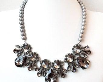 Smokey Gray Bib Necklace - Gray, Black, Ivory or White Pearl - Vintage Style - Gunmetal Statement Bridal Necklace - Gray Black Crystals