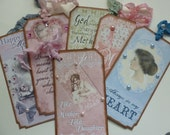 Mothers Day tags or bookmarks vintage style tags for Mom bookmarks for Mother vintage inspired birthday for Mom - set of 6