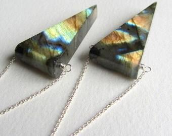 Labradorite Geometric Dangle Earrings Huge Stone Triangular Shaped Stone Flashy Spectrolite Statement Earrings Natural Gemstone Metaphysical