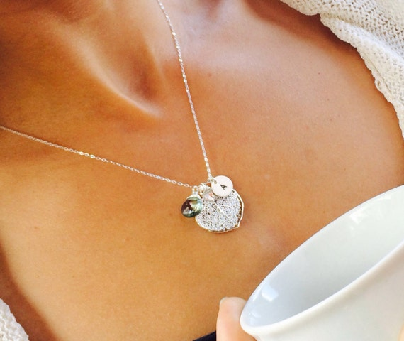Personalized Leaf necklace with birthstone & initial charm, bridesmaid gifts, hand stamped initial, monogrammed bridesmaid gifts